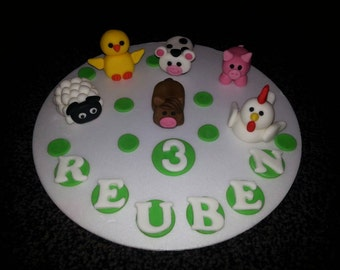 Edible farm animals birthday cake topper* pig*sheep*horse*cow*chicken*hen* personalised