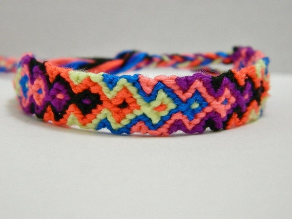 adjustable vibrant neon arrowhead friendship bracelet