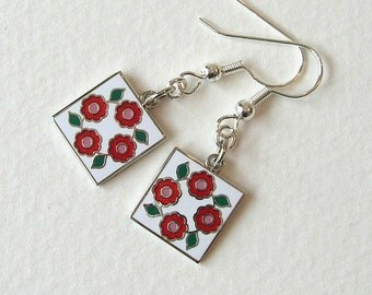 Rose Of Sharon Quilt Block Earrings, Red, White, Green, Charms, Hand Enameled, Sewing, Quilting, Gift