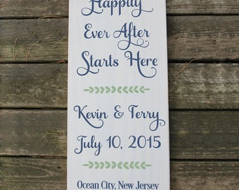 Wood Wedding Date Sign / Happily Ever After Handpainted Wedding Sign