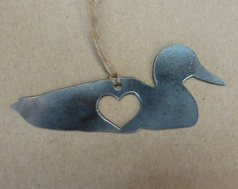 FREE SHIPPING: Duck Love Rustic Steel Heart Ornament
