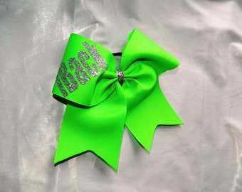 iBack in Neon Green Cheer Bow Hair Bow