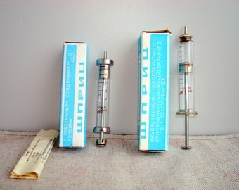 Vintage glass and brass syringe SET OF TWO 10ml and 5 ml in box  Soviet medical device