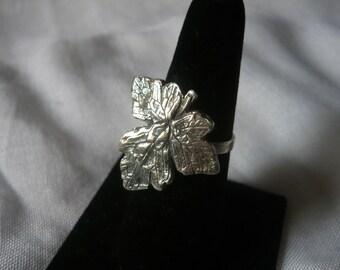 Ivy leaf ring. Adjustable Sterling silver ring with an ivy leaf.