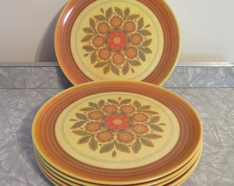 Retro Patterned 1970's Dinner Plates (set of 6)