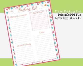 Printable Packing List - Zesty Floral - Travel Planning - PDF Packing List - Things to Pack - Instant Download