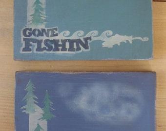 Reversible hunting and fishing block sign man cave gift for for Fishing decor for man cave
