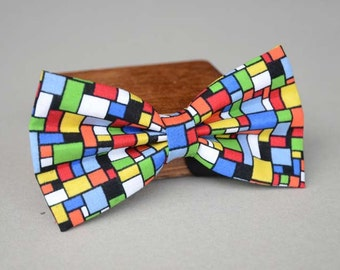 handmade colorful mosaic mens bow tie,men's bow tie, men bow tie, bow tie for men, bow tie men, wedding bow tie, groomsmen bow tie