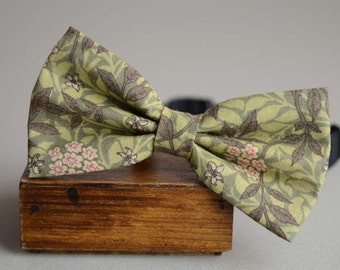 handmade vintage green leaf bow tie,men's bow tie, men bow tie, bow tie for men, bow tie men, wedding bow tie, groomsmen bow tie