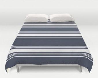 Nautical Stripes Duvet Cover, navy blue duvet, nautical comforter cover, blue full duvet cover, queen duvet, king duvet, choose color