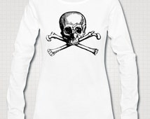 Skull And Crossbones Jolly Roger Vintage Art Illustrated Ethically Produced Womens Cotton Long Sleeve T-Shirt Top. White Or Grey.