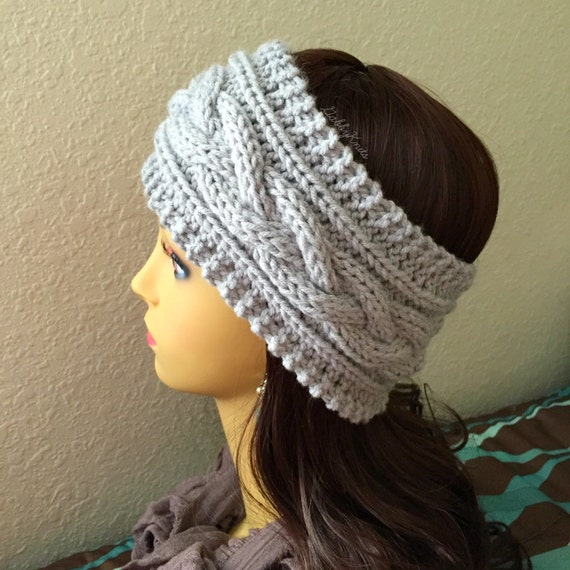 Cable Knit Ear Warmer Pattern : KNITTING PATTERN Cable Headband Ear Warmer Easy Beginner Knit Headband Instan...