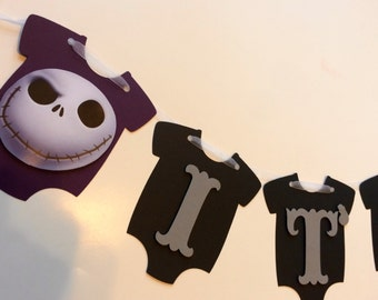 Exceptional Itu0027s A Boy Baby Shower Onesie Banner   Nightmare Before Christmas