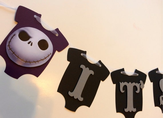 it 39 s a boy baby shower onesie banner nightmare before christmas