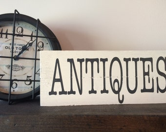 Antiques Sign, Distressed Wood Sign