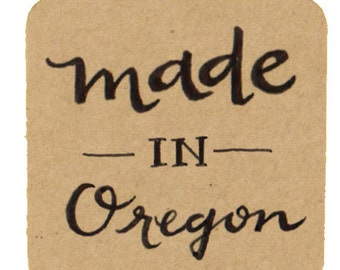 """Made in Oregon Kraft Stickers for Use on Handmade Creations, 1.5"""" Kraft Labels / Envelope Seals / Square Labels"""
