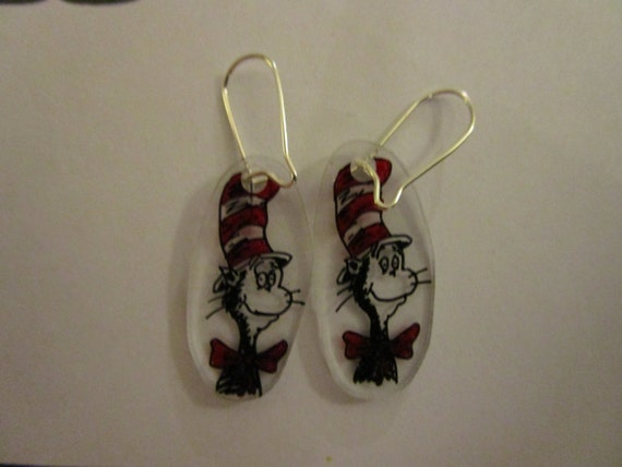 dr seuss earrings choice of cat in the hat sam i by