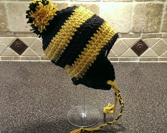 Crochet Baby Hat - Ear Flap Hat -  Team Spirit Hat - Black and Gold Hat - Baby Sport Hat - 3 to 6 Months