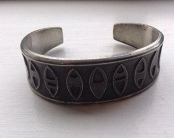 Vintage pewter cuff bracelet- made in Norway