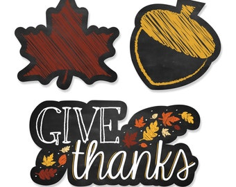 24 pc. Give Thanks Shaped Paper Cut Outs - Thanksgiving Party Decoration Kit