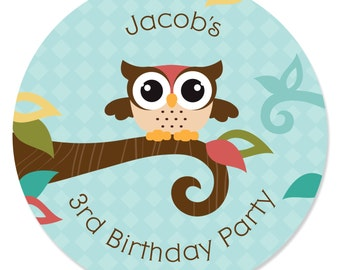 OWL - 24 Owl Circle Stickers - Personalized Baby Shower and Birthday Party Supplies