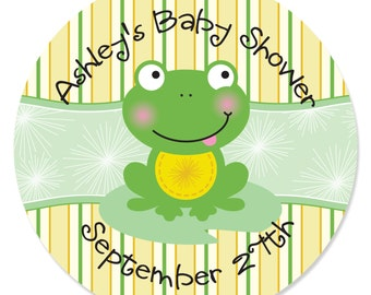 24 Froggy Frog Circle Stickers - Personalized Baby Shower and Birthday Party DIY Craft Supplies