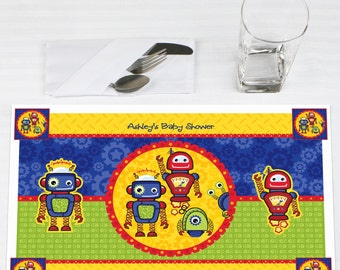 Set of 12 Robots Placemats - Personalized Baby Shower or Birthday Party Supplies