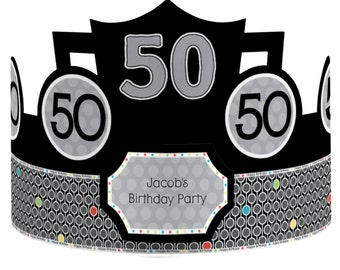 8 Custom Party Hats - Birthday Party Hats - 50th Birthday Party Supplies - 8 Count