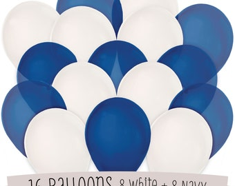 16 Navy and White Latex Balloon Kit - Balloon Bouquet for a Baby Shower, Birthday Party or Bridal Shower