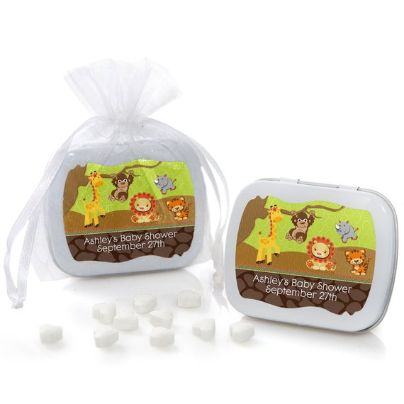 safari jungle mint tin party favors baby shower or birthday party