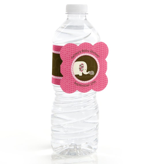 12 Pink Elephant Water Bottle Labels Personalized Baby