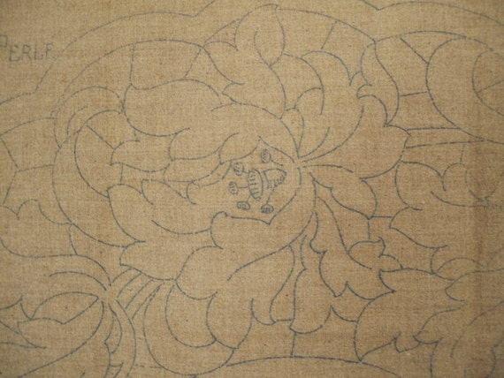 French embroidery pattern vintage linen shabby chic