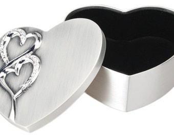 2 Tone Brushed/Shiny Silver Finish Hearts Box 4 x 4 1/4