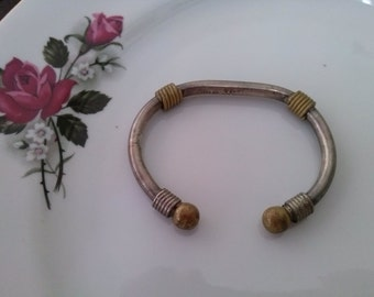 Vintage metal bracelet wire wrapped solid metal