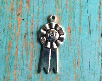 8 First place ribbon charms antique silver tone - first place charm, silver ribbon charm, contest winner charm, blue ribbon charm, NN3