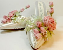 Pink Rose Wedding Shoes  Bridal  Fairytale Bridal Shoes Covered With Flowers Spring Garden Wedding Shoes