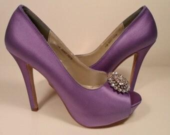 Silk Satin Purple  Wedding Shoes, Silk Bridal Heels , Silk Wedding Shoes, SilkBrides Shoes, Wedding, Pearl Bridal Shoes