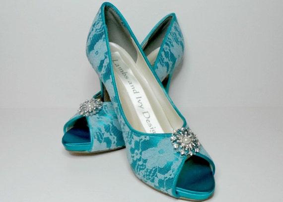 teal lace wedding shoes bridal heels teal lace by ajunebride