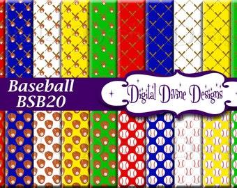 Baseball Digital Scrapbooking  Paper Set - Instant Download