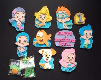 Edible Bubble Guppies , Sea life set , age Fondant / Gumpaste Cake topper ( please read the item description for details )
