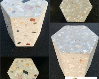 Seat - stone and concrete outdoor patio furniture. Hexagon, cylinder or cube chair or table and chair setting.