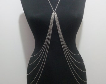 Silver Body Chain, Silver Chain,Body Necklace,Gift,Dainty Necklace