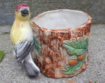 Colorful Little Vintage Ceramic Bird Planter!