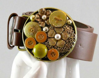 Vintage buttons and flower finds buckle