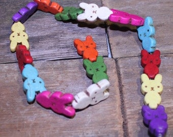 Mixed Color Howlite Rabbit Beads, Small Rabbit Beads, Colored Rabbits, Easter Beads
