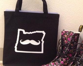 Mustache in Oregon Tote Bag - White on Black - Book Bag - Market Bag - Reusable Grocery Bag