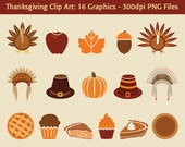 Digital Thanksgiving Clip Art - 16 graphics - turkeys, pilgrim hats, indian headdress, pumpkin pie, apple pie, desserts, orange, red, brown