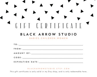 Black Arrow Studio Gift Certificate, Printable, 25.00