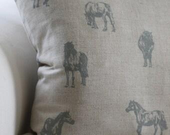 Ponies Prancing, Blue Cushion