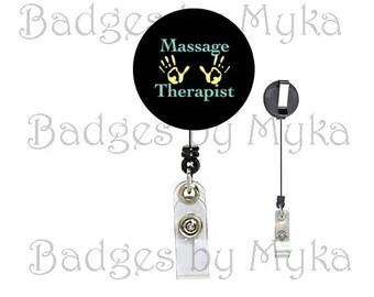 Retractable ID Badge Holder - Massage Therapist